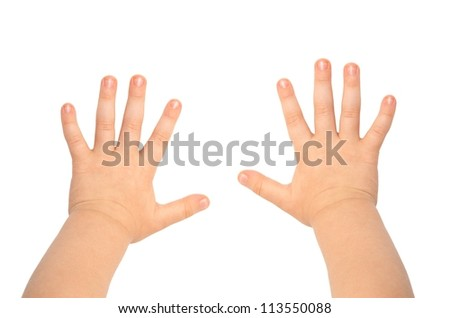 Children's hands isolated on white background - stock photo