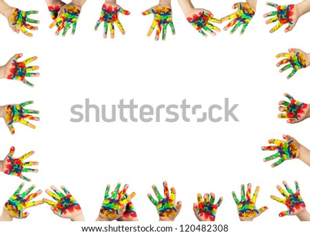 Children's hands painted with colorful paint. Infant border frame - stock photo