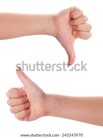 children's hands showing thumb up and down isolated with Clipping Path included - stock photo