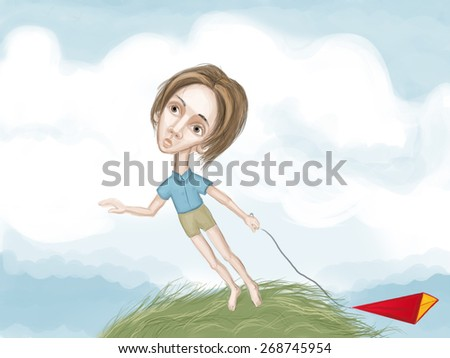children's illustration dreaming and thoughtful boy with kite - stock photo