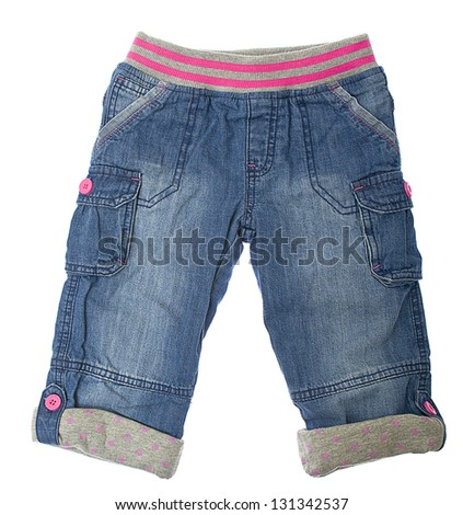 Children's jeans isolated on white