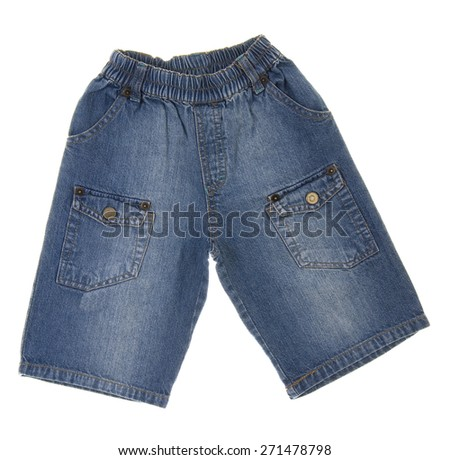 Children's jeans isolated on white background - stock photo