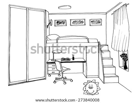 Kids Bedroom Drawing graphical sketch interior bedroom stock illustration 90402226
