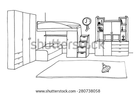 Children's, kids room graphical sketch of an interior, liner - stock photo