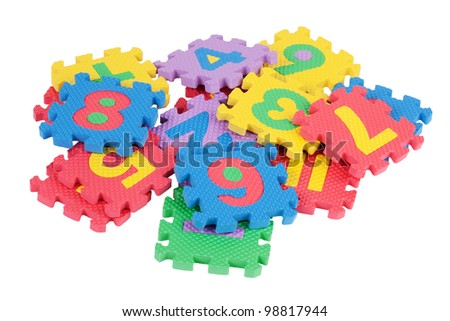 Children's mosaic of numbers on a white background - stock photo