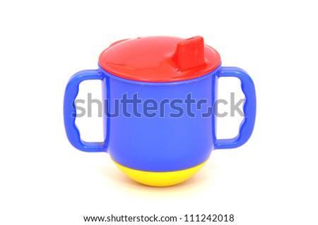 Children's mug on a white background - stock photo