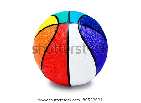 Children's multicolored basketball ball isolated on white background - stock photo
