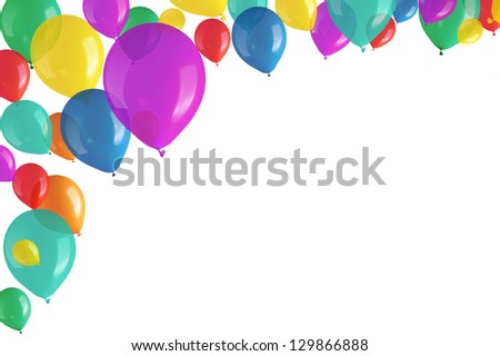 Children's party colorful balloons on white background - stock photo