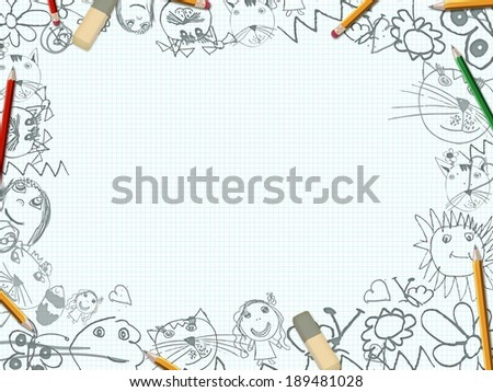 children's pencil drawings school desk background  - stock photo