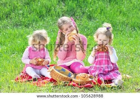 children's picnic - stock photo