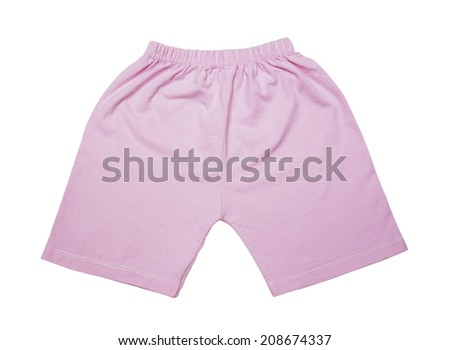 children's pink shorts isolated on white background