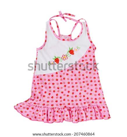 Children's pink sundress isolated on white background - stock photo