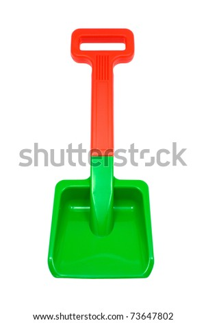 Children's plastic shovel on white background (clipping path) - stock photo