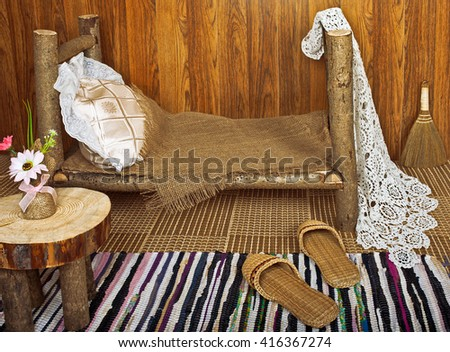 Children's play area in rustic style - stock photo
