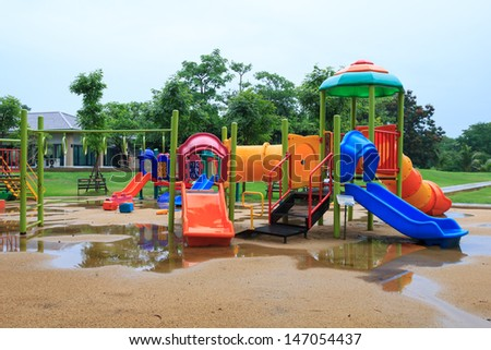 Children's playground at public park after rain,Bangkok