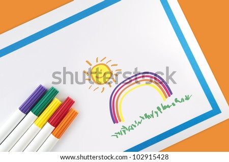 Children's Rainbow Art - stock photo