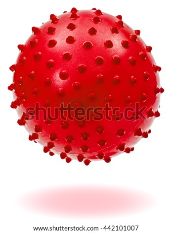 Children's red ball with shadow, isolated on white background