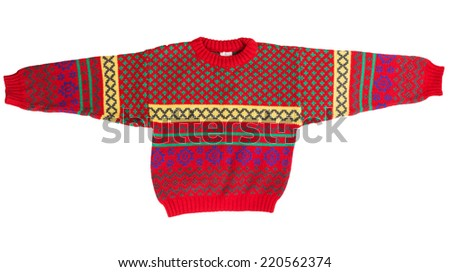 Children's red sweater isolated on a white background - stock photo