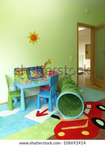 Children's room in a new modern house - stock photo