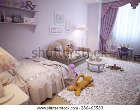 Children's room in classical style with white furniture and pink walls. 3d render.