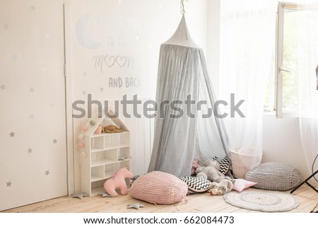 childrenu0027s room in white color with grey canopy and pink pillows on the floor & Childrens Room White Color Grey Canopy Stock Photo 662084473 ...