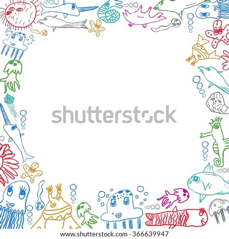 children's sea creatures square frame background isolated on white