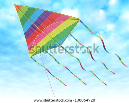 Children's toy - a kite against the sky - stock photo