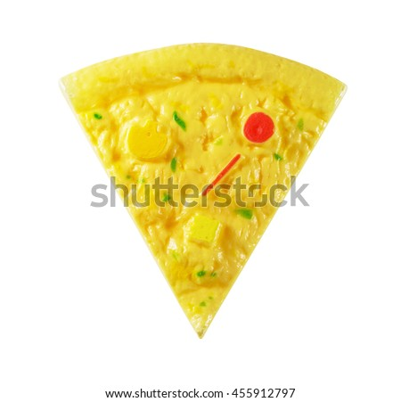 Children's toy a plastic, pizza isolated on white