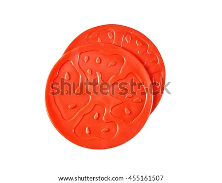 Children's toy a plastic, tomato isolated on white