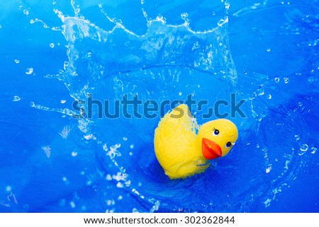 Children's toy duck drop into water with splash on blue background