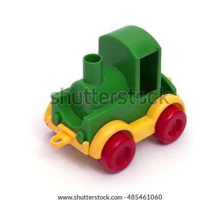children's toy train isolated on white bakground