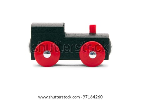Children's Toy train made ??of wood. - stock photo