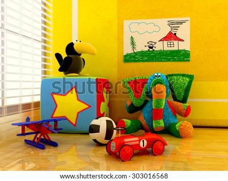 Children's toys inside the room.  - stock photo