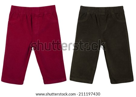 Children s trousers isolated on a white background - stock photo