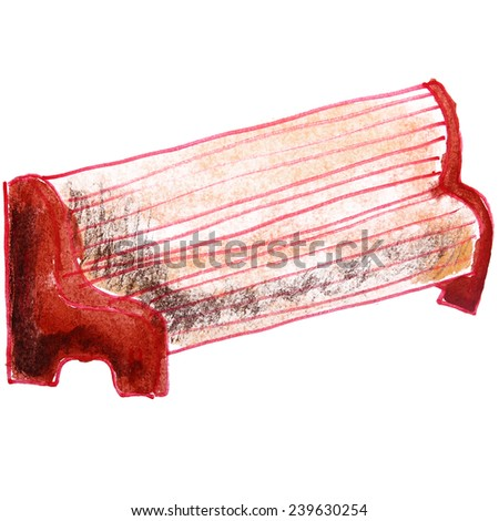 Children's watercolor drawing bench cartoon on a white background - stock photo