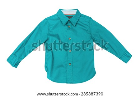 Children's wear - blue cotton dress shirt isolated on the white background - stock photo