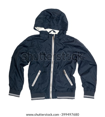 Children's wear - blue jacket isolated over white backgroun