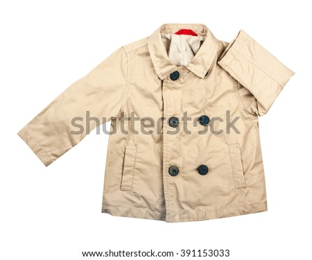 Children's wear -  Cotton elegant kid's raincoat, isolated on the white