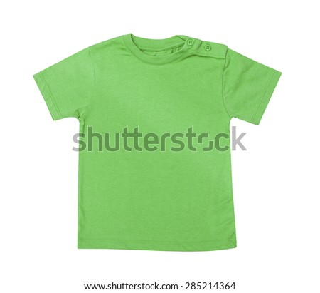 Children's wear - green shirt isolated on the white background - stock photo