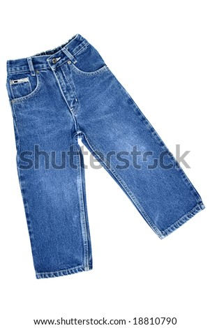 Children's wear - jeans isolated over white background - stock photo