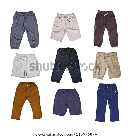 Children's wear - set of trousers isolated on a white background - stock photo