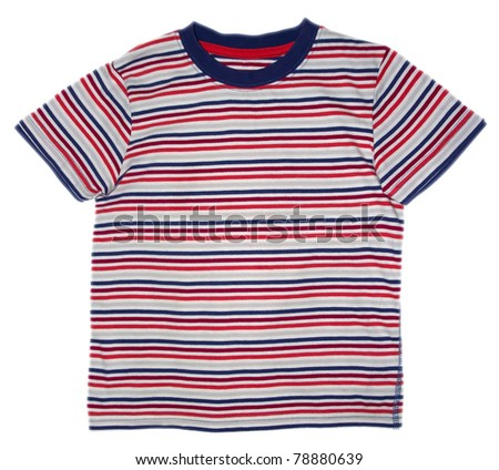 Children's wear - striped shirt isolated over white background. Clipping path included. - stock photo