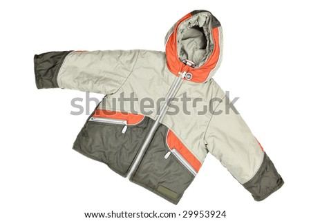 Children's wear - winter jacket isolated over white background - stock photo