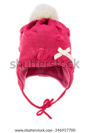 Children's winter hat isolated on a white background. - stock photo
