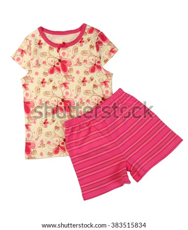 Children's yellow T-shirt and pink shorts set. Isolate on white. - stock photo