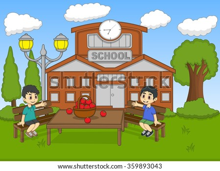 Children sitting in the school garden cartoon