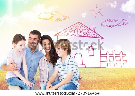 Children sitting on parents laps over white background against blue sky over green field