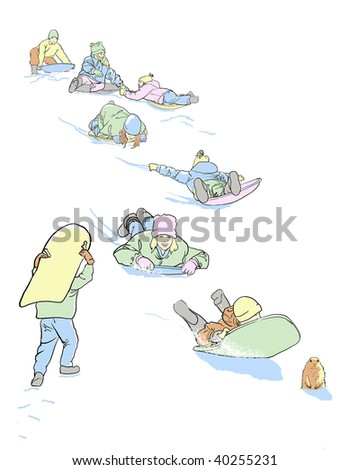 Children sledding downhill in the snow and a groundhog seeing his shadow