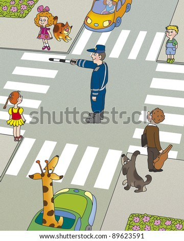 children think, who must first begin to cross the road? - stock photo