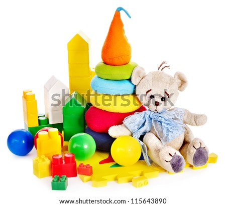 Children toys with teddy bear and ball. Isolated. - stock photo